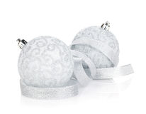 Silver christmas baubles with ribbon Royalty Free Stock Photography