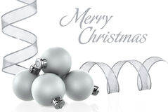 Silver Christmas Baubles & Silver Ribbons XXL Royalty Free Stock Photo