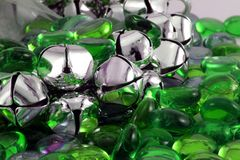 Silver Christmas Bells. With green glass stones Stock Images