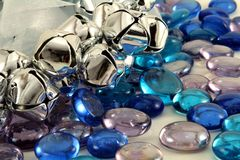 Silver Christmas Bells. With blue glass stones Stock Images