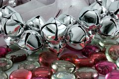 Silver Christmas Bells. With red glass stones Stock Images
