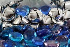 Silver Christmas Bells. With blue glass stones Royalty Free Stock Photo