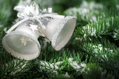 Silver Christmas bells on fir twigs. Silver Christmas bells on snow covered fresh fir twigs, studio shot with shallow focus Royalty Free Stock Photography