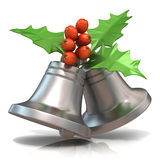 Silver Christmas bells with holly berries, 3D render Royalty Free Stock Photos