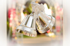 Silver christmas bells Stock Images