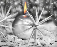 Silver Christmas candle Stock Photography