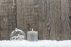 Silver Christmas candle Royalty Free Stock Images
