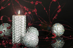 Silver Christmas Candle 2 Stock Images
