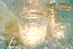 Silver Christmas candles stock photography