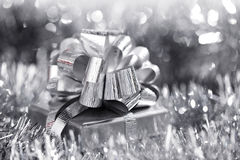 Silver christmas card royalty free stock photos