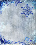 Silver Christmas card with blue snowflakes Royalty Free Stock Images