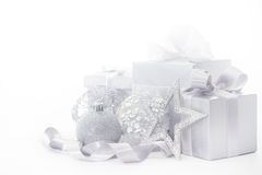 Silver christmas card Stock Images