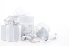 Silver christmas card Stock Photography