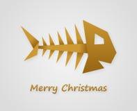 Silver christmas card. With paper christmas carp Stock Image