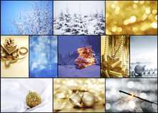 Silver christmas. Collage of christmas cards and nature Royalty Free Stock Photo