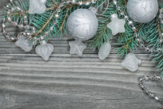 Silver Christmas composition Stock Images