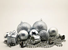 Silver Christmas decoration, balls, beads, bell close up isolate Royalty Free Stock Images