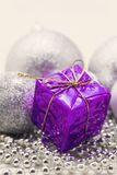 Silver Christmas decoration, balls, beads, bell close up isolate. Silver Christmas decoration, balls, beads, bell close up stock images