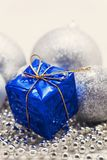 Silver Christmas decoration, balls, beads, bell close up isolate. D royalty free stock photos