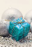 Silver Christmas decoration, balls, beads, bell close up isolate. D royalty free stock photo