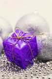Silver Christmas decoration, balls, beads, bell close up isolate. D stock photography