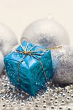 Silver Christmas decoration, balls, beads, bell close up isolate. D royalty free stock image