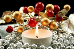 Silver Christmas Decoration With Berries Royalty Free Stock Image