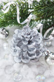 Silver Christmas Decoration - Cone Candle, Balls And Branch Of C Stock Photos