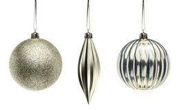 Silver Christmas decoration elements isolated on white backgroun Royalty Free Stock Photo