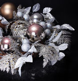 Silver Christmas Decoration over black background. Shiny Holiday Royalty Free Stock Images