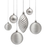 Silver Christmas decoration set royalty free stock images