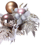 Silver Christmas Decoration. Shiny and Glitter Holidays Balls is. Olated on white background stock image