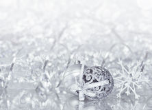Silver Christmas decorations Royalty Free Stock Image