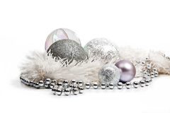 Silver Christmas decorations Stock Photo