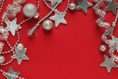 Silver Christmas decorations background Royalty Free Stock Photo