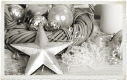 Silver Christmas Decorations Stock Images