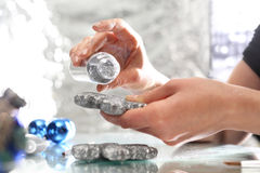 Silver Christmas decorations. Glitter bauble Stock Images