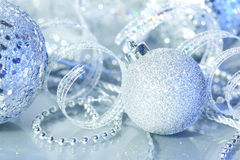 Silver Christmas decorations Royalty Free Stock Photos