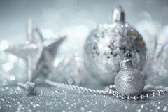 Silver Christmas decorations Stock Photos