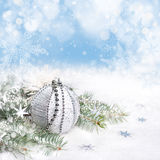 Silver Christmas decorations, space Royalty Free Stock Photography