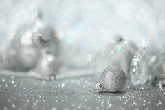 Silver Christmas decorations stock image