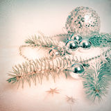 Silver Christmas decorations, tinted image Stock Photo
