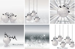 Silver christmas design set . Vector illustration. Stock Photos