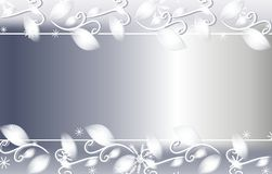 Silver Christmas Floral Background. A background border featuring silver colored ribbon, floral vine and snowflakes Stock Photography
