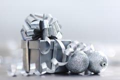 Silver christmas gift Stock Image