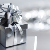 Silver christmas gift Royalty Free Stock Images
