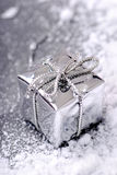 Silver Christmas gift Royalty Free Stock Image
