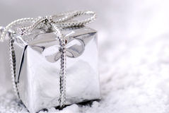 Silver Christmas gift. High resolution image Stock Image
