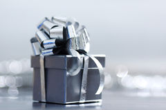 Silver christmas gift Stock Photos