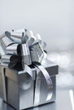 Silver christmas gift Royalty Free Stock Photo